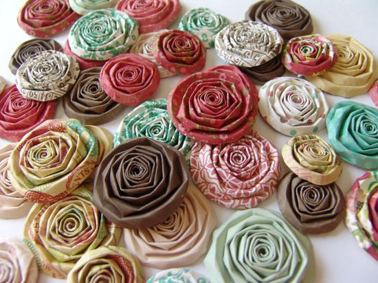 Paper flowers set of 40 red brown aqua handmade roses by ilovethis