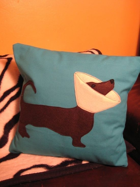 Weenie Dog Pillow - it's all fun and games til someone ends up in a cone ~ PERFECT gift idea for my in-laws!