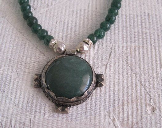 Jade Necklace with pendant filigree and handmade breads by Viyoli, $125.00