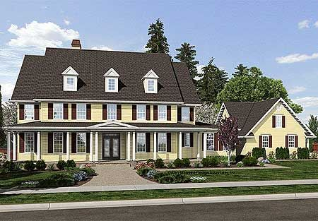 Plan W69500AM: Farmhouse, Luxury, Traditional, Colonial, Country, Corner Lot House Plans & Home Designs