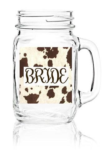 Mason jar bride glass for rustic country wedding cow by monostudio, $18.00