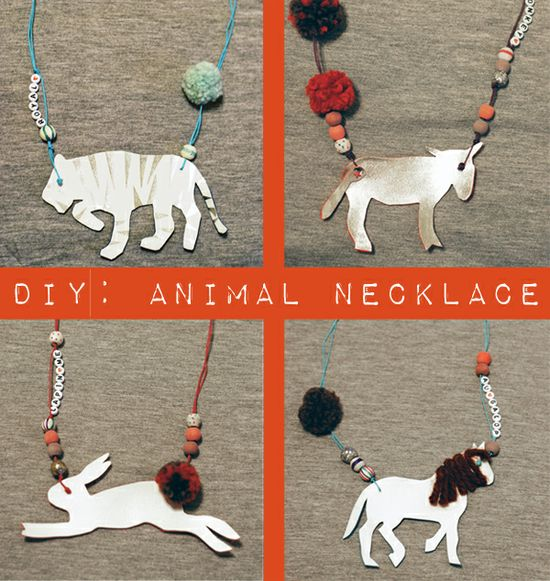 These are SO awesome! Via petit à petit and family: DIY: Your Favorite Animal Necklace by @Celina Bailey
