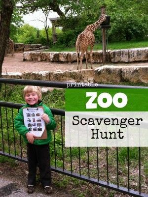 Printable zoo scavenger hunt - take it with you next time you go to the zoo and mark off the animals as you find them.