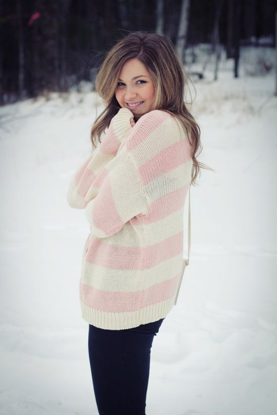 Over sized sweater with pink stripes!