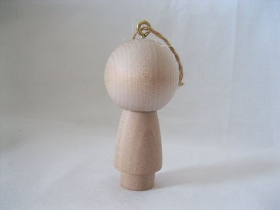 Do it Yourself Blank Holiday Ornament Wooden Kokeshi Doll