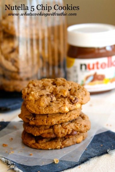 Nutella 5 Chip Cookies will rock your world!  Simply mouth-watering AMAZING!  from www.whatscookingw... #recipes #cookies #nutella