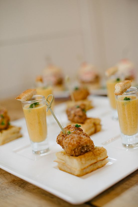 Mini chicken & waffles and tomato soup with grilled cheese - party food!