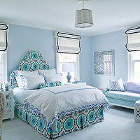 Ashley Whittaker Design - bedrooms - Benjamin Moore - Mountain Mist - blue suzani headboard, blue suzani bed skirt, pleated blue suzani bed ...