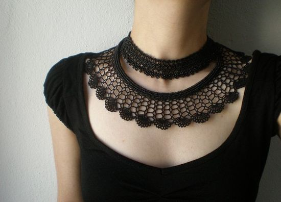 Irregular Expressions - Black Lace - Nightfall .... Beaded Crochet Necklace - Flowers [$118.00]
