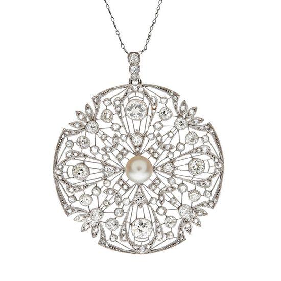 Art Deco Diamond & Pearl Filigree Platinum Large Pendant