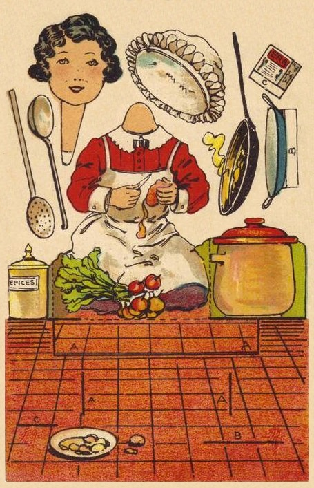 Vintage paper doll bobblehead chef to print.