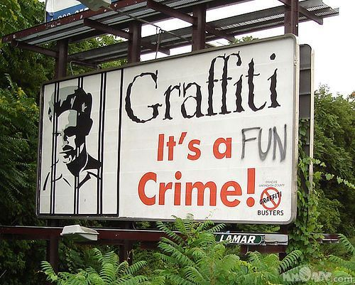 'Nuff said. Street sign graffiti'd to promote the fun of the art, and mock its haters in the process. It should be a crime to put us away as we beautify the world! #graffiti #street #art STREET ART COMMUNITY » We declare the world as our canvas. www.moderncrowd.c...