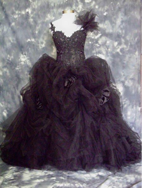 Black Wedding Dress. $529.00, via Etsy.