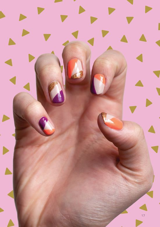 Colorblock geometric nails