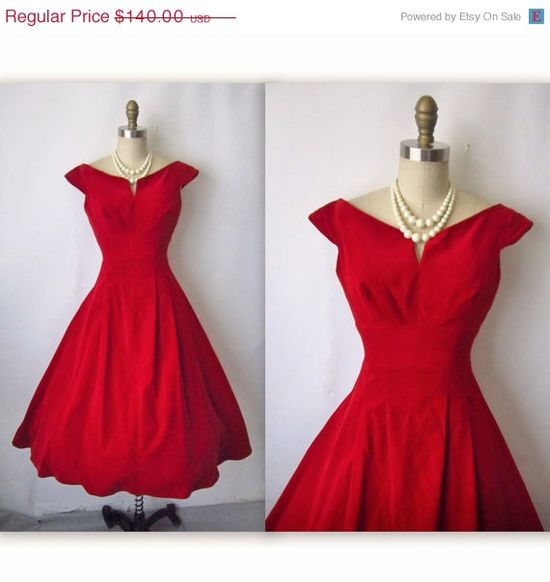 Vintage 1950's Red Velvet Cocktail Party Holiday Dress