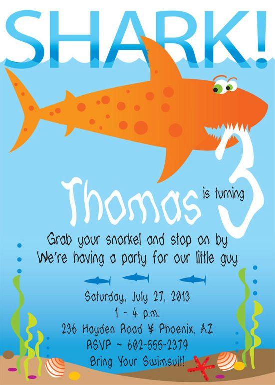 Shark Birthday Party Invitation for kids