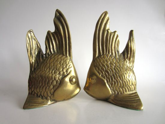 Brass Fish Bookends Mid Century Nautical Home Decor by pillowsophi, $80.00