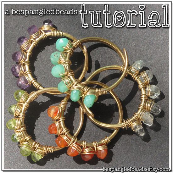 Wire Jewelry Tutorial How to Make Wirewrapped Adjustable Gemstone Rings  #diy #tutorial #jewelry #how-to