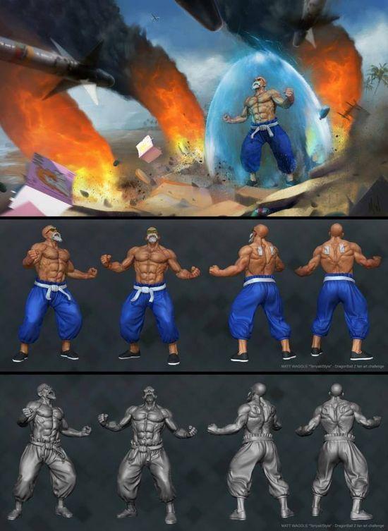 DBZ 3D art Master Roshi