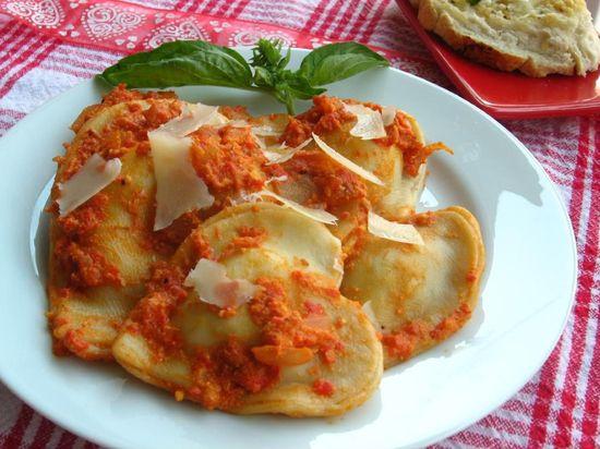 Billion Cheese Ravioli with Red Pepper Pancetta Sauce > Willow Bird Baking
