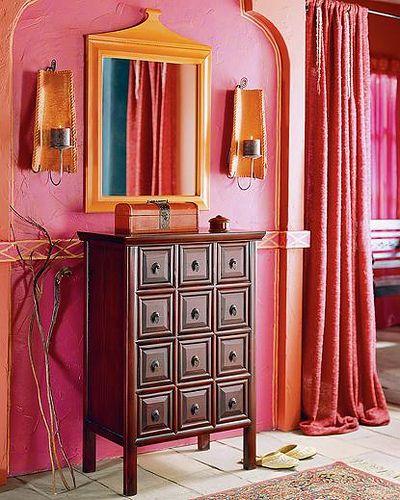 orange & fuchsia interiors