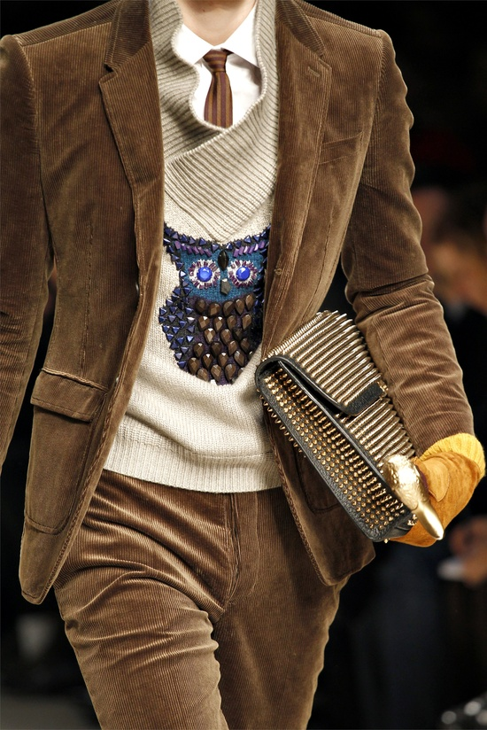 Burberry Prorsum menswear Fall/Winter 2012-13 collection—nice owl pattern.