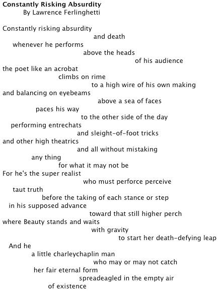 Lawrence Ferlinghetti-- Constantly Risking Absurdity