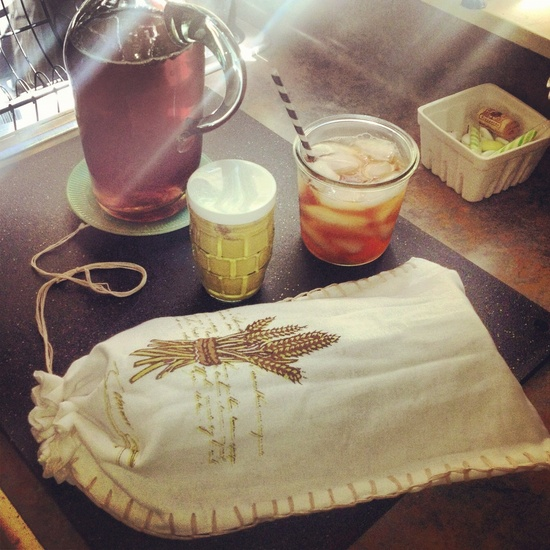 Handmade Bread bag from a vintage-inspired tea towel