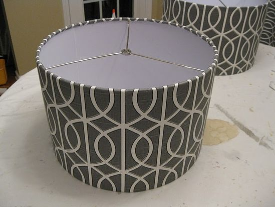 DIY how to cover a lamp shade with fabric.