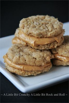 Peanut Butter Oatmeal Sandwich Cookies  Ingredients: 1 1/2 cups oats 1/2 cup flour 1/2 cup granulated sugar 1/2 cup brown sugar 1/2 teaspoon baking powder 1/2 teaspoon baking soda 1/2 teaspoon salt 1/2 teaspoon vanilla extract 1/2 cup peanut butter 1/2 cup unsalted butter, room temperature 1 egg  Filling: 1/2 cup powdered sugar 1 cup creamy peanut butter