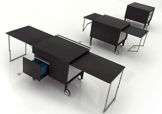 desks on wheels that go from a tiny work table to a multi-user work station