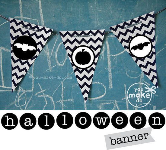 "INSTANT DOWNLOAD HALLOWEEN PARTY PRINTABLES! Halloween party printables to make your own Halloween banner. Includes white and black chevron banner and a free Halloween customization set to customize your banner! Customization kit includes letters (white letters on black circles) to spell ""happy halloween"" on your banner. Sweet black and white pumpkin and bat silhouettes are included to decorate your banners too!"