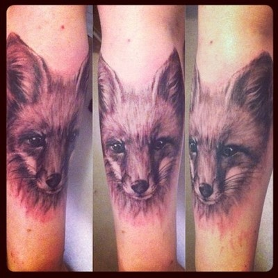 fox tattoo by kit king, in Canada. www.facebook.com/...