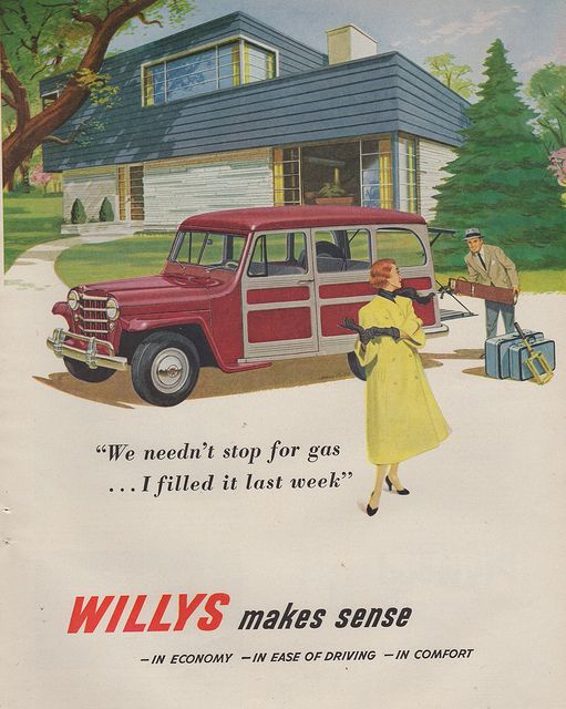 The elusive two-story Modern spotted behind this 1951 Willys.