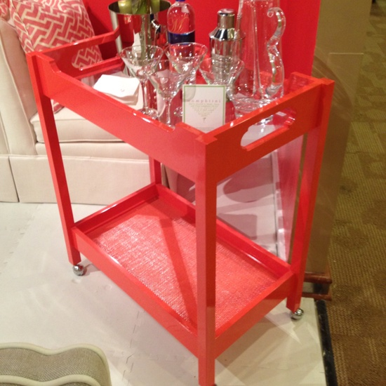 High Point Spring 2012-Oomph Bar Cart...Fabulous Coral color!! Find it in Innerhall. #hpmkt