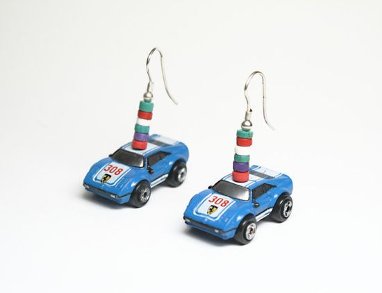 Blue Ferrari 1980s Micro Machines Toy Sports Car Earrings with Sterling Silver