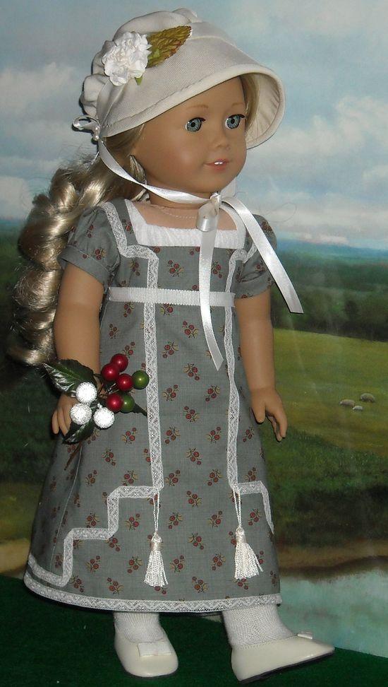 1812 Regency Day Dress, Slip, and Bonnet for 18 inch Dolls like Caroline via Etsy.