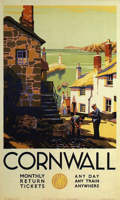 Cornwall  UK vintage travel poster.