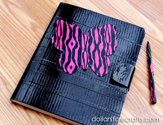 Dollar Store Craft: duct tape pen and closeable notebook - #dollarstorecrafts from dollarstorecrafts...