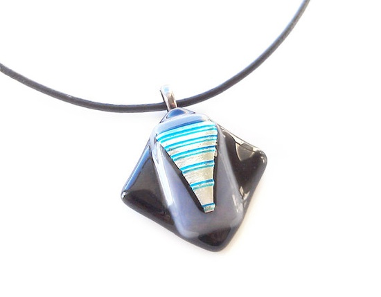 Black Gray and Teal Blue Dichroic Pendant by GlitterbirdGlass, $22.00