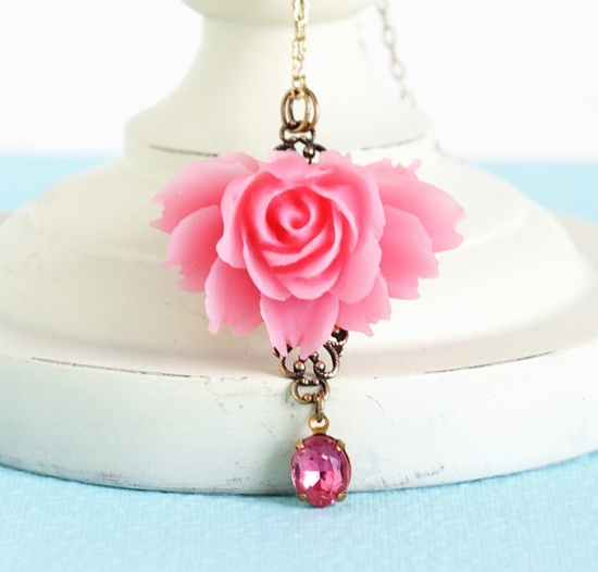 Pink Rose Necklace With a Pink Vintage Crystal by JacarandaDesigns, $29.00