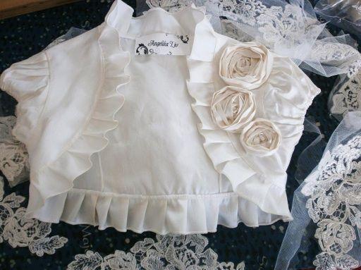 Any colour raw silk bolero WITH the handmade roses for BABY girl