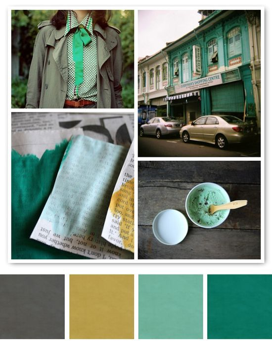 Mustard yellow with teal