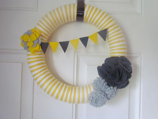 Grey and Yellow and Silver Yarn Wreath