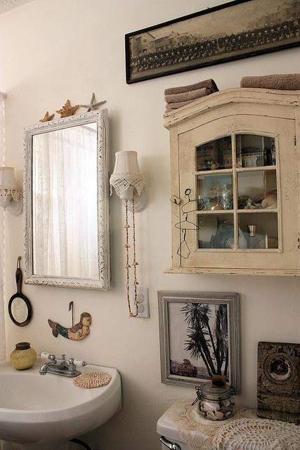 vintage bathroom/beachy, love the cabinet!