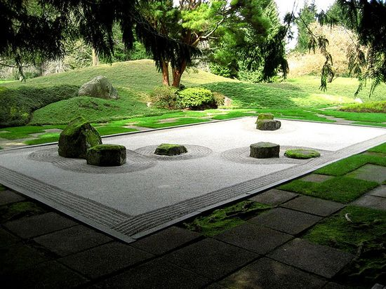 The Dry Garden (karesansui) in The Bloedel Reserve on Bainbridge Island, Washington;  designed in the mid-1970s by the late Koichi Kawana, professor of landscape architecture at UCLA.