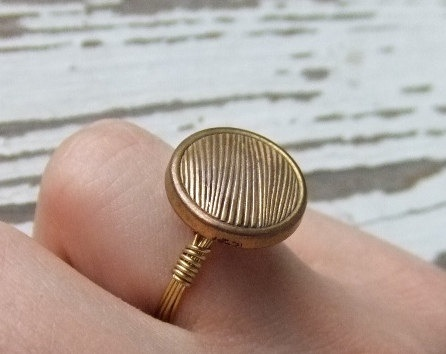 Vintage button ring. Wire wrapped by hand with brass wire. #pinkelephant #etsy #handmade #ring #jewelry #gold