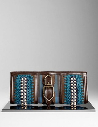 50 Dream Handbags: burberry beaded canvas check clutch, $1,295 #handbags, #handbags galore, #purse, #clutch, #evening bag, #designer bags, #valentino bags, #party bags.