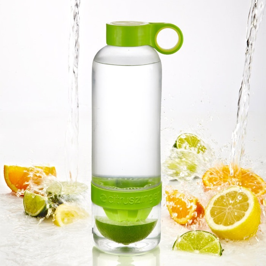 Water bottle infused with citrus.
