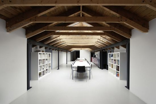 timber ceiling: The Offices of LEMAYMICHAUD Architecture Design
